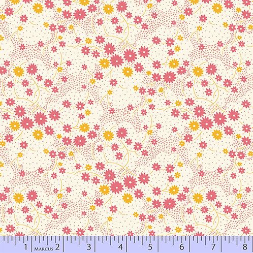 Aunt Grace's Apron-Flowers Pink and Yellow