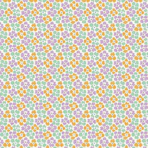 Adeline Chex Flowers Orange 8973