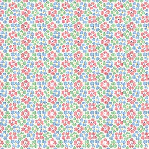 Adeline Chex Flowers Green 8973