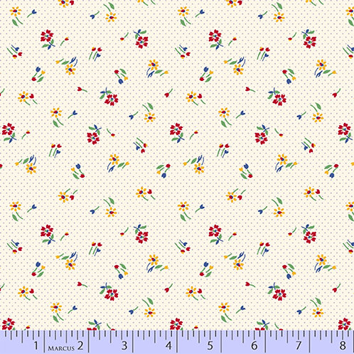Aunt Grace's Apron-Small Flowers on White