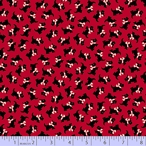 Aunt Grace's Apron-Scotties on Red