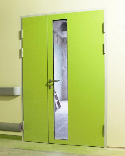 Дверь алюминиевая двустворчатая hpl-панель