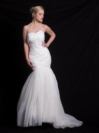 Plain Tulle Mermaid Wedding Gown