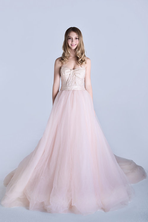 White By Vera Wang Cute Bow Pink Wedding Dress