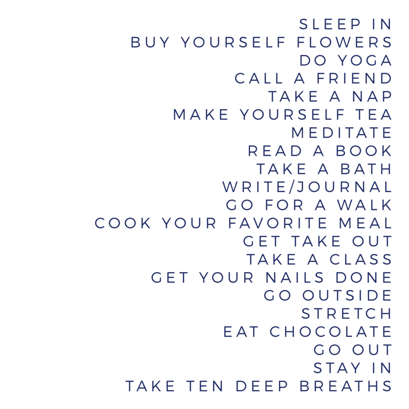 Self care suggestions from an acupuncturist