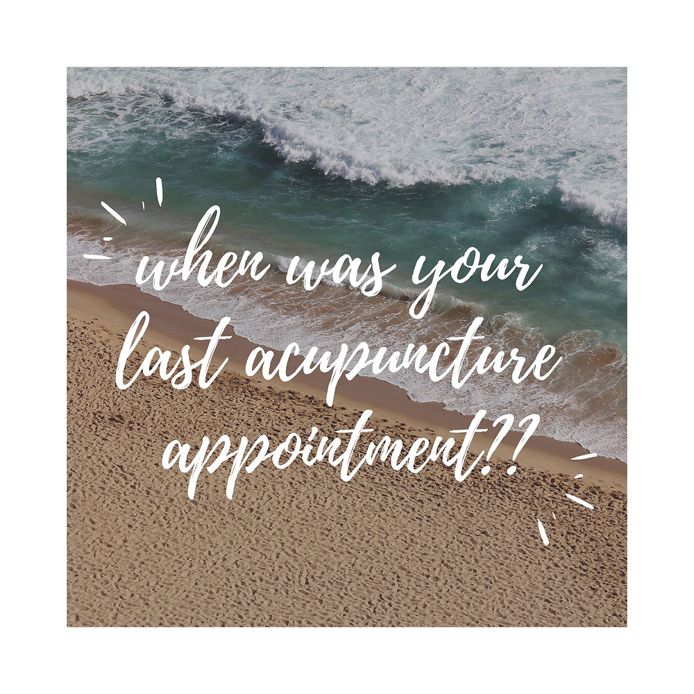 When was your last acupuncture appointment?