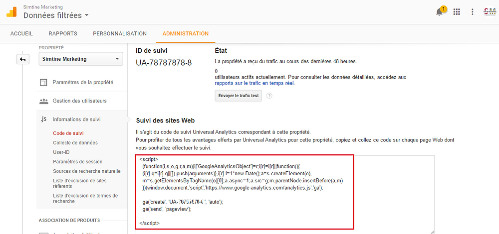 Suivi des sites Web - Google Analytics