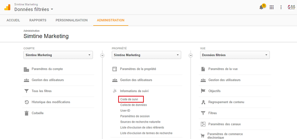 Code de suivi - Google Analytics