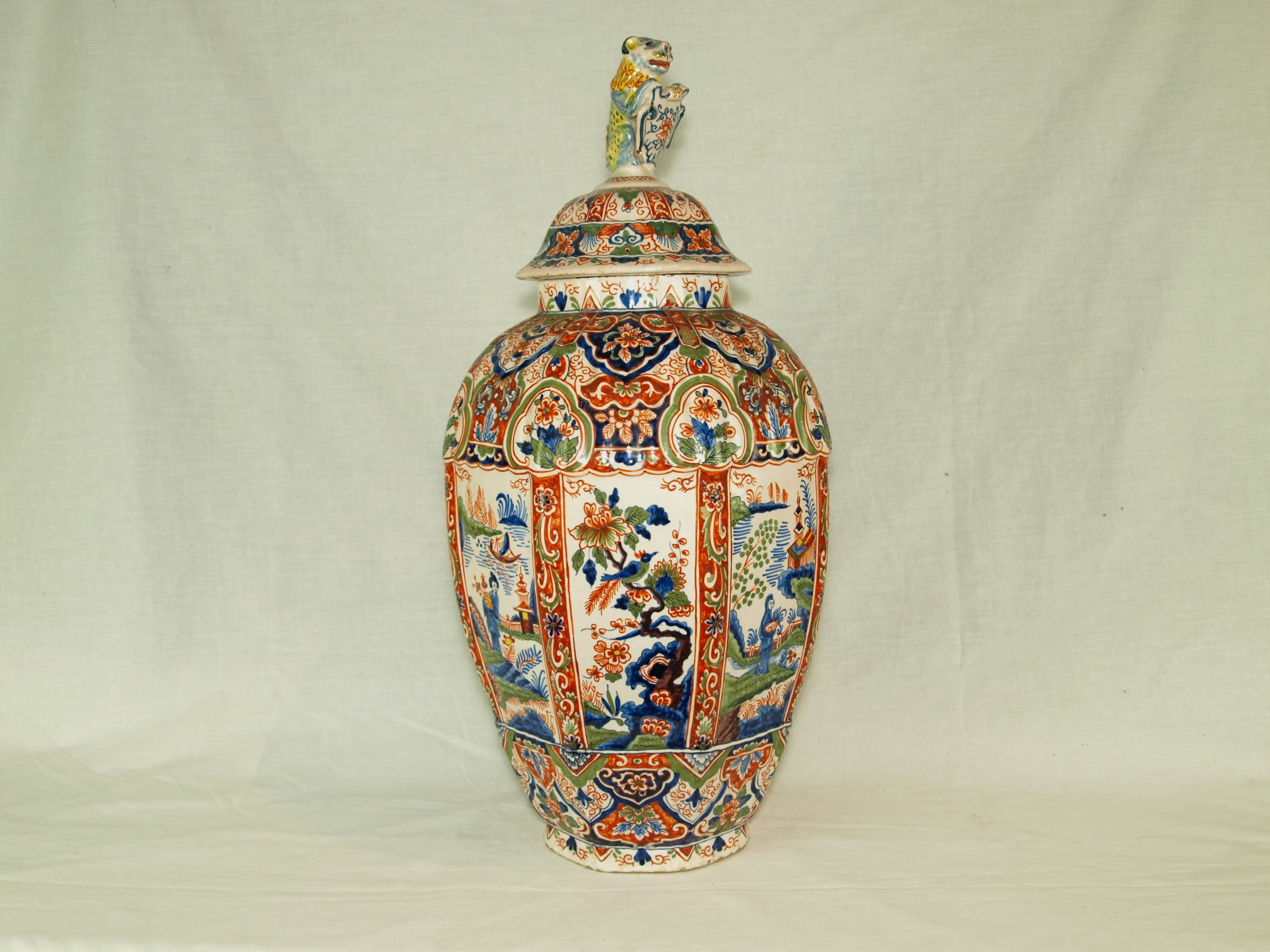 LARGE DELFT VASE AND COVER