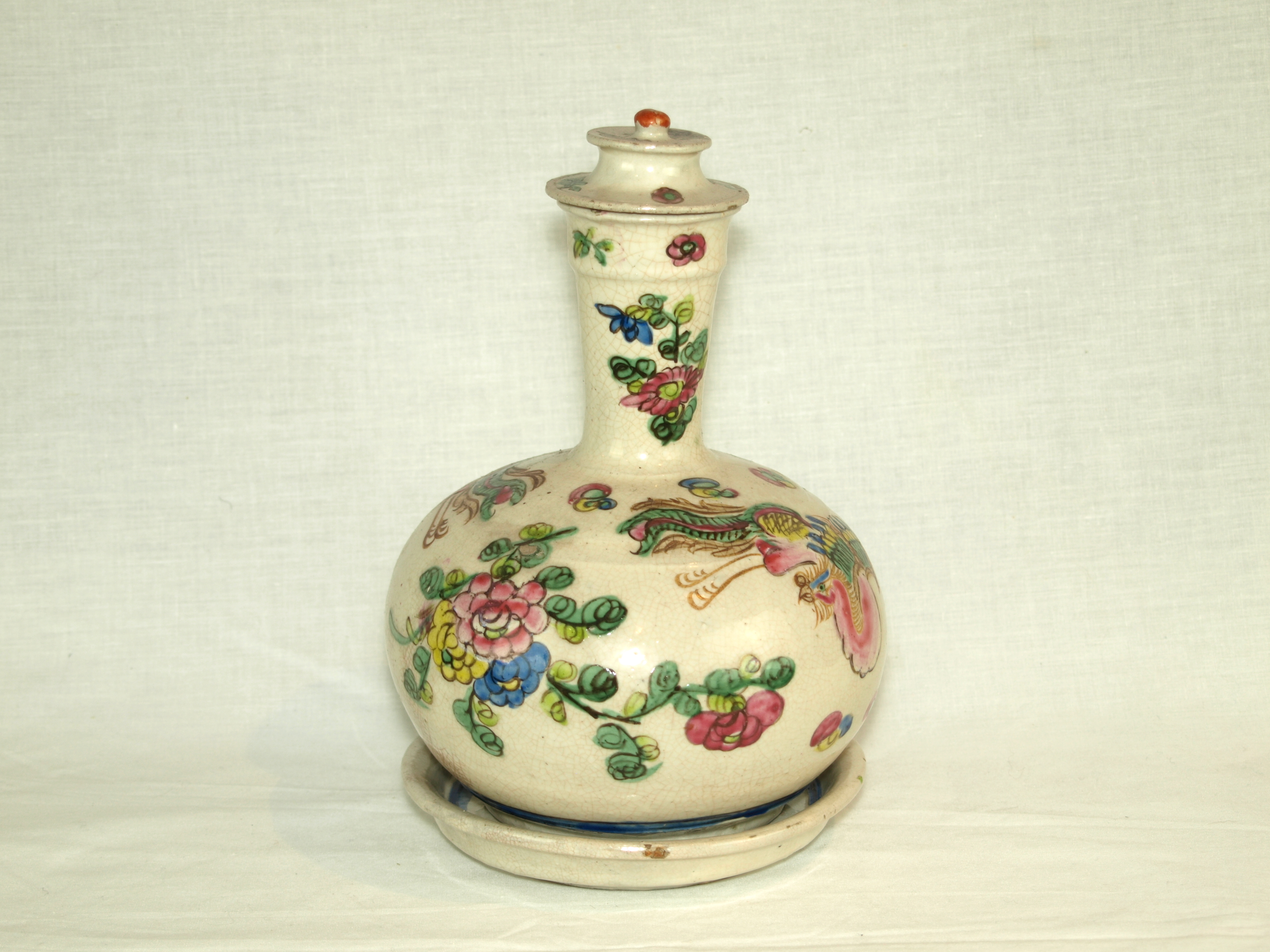 FRENCH EARTHEN WARE VASE COVER AND DISH