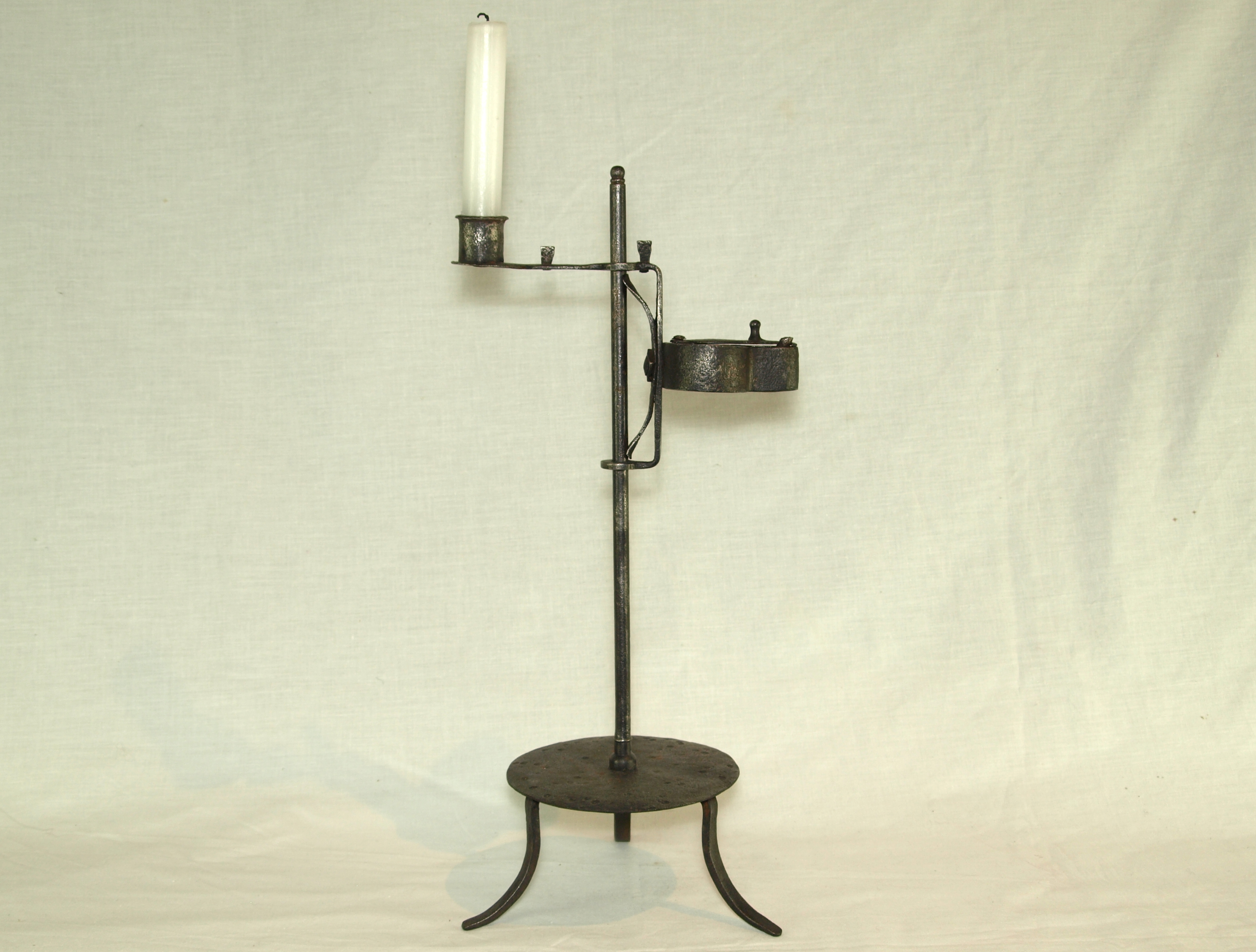 IRON CANDLE STAND AND OIL LAMP