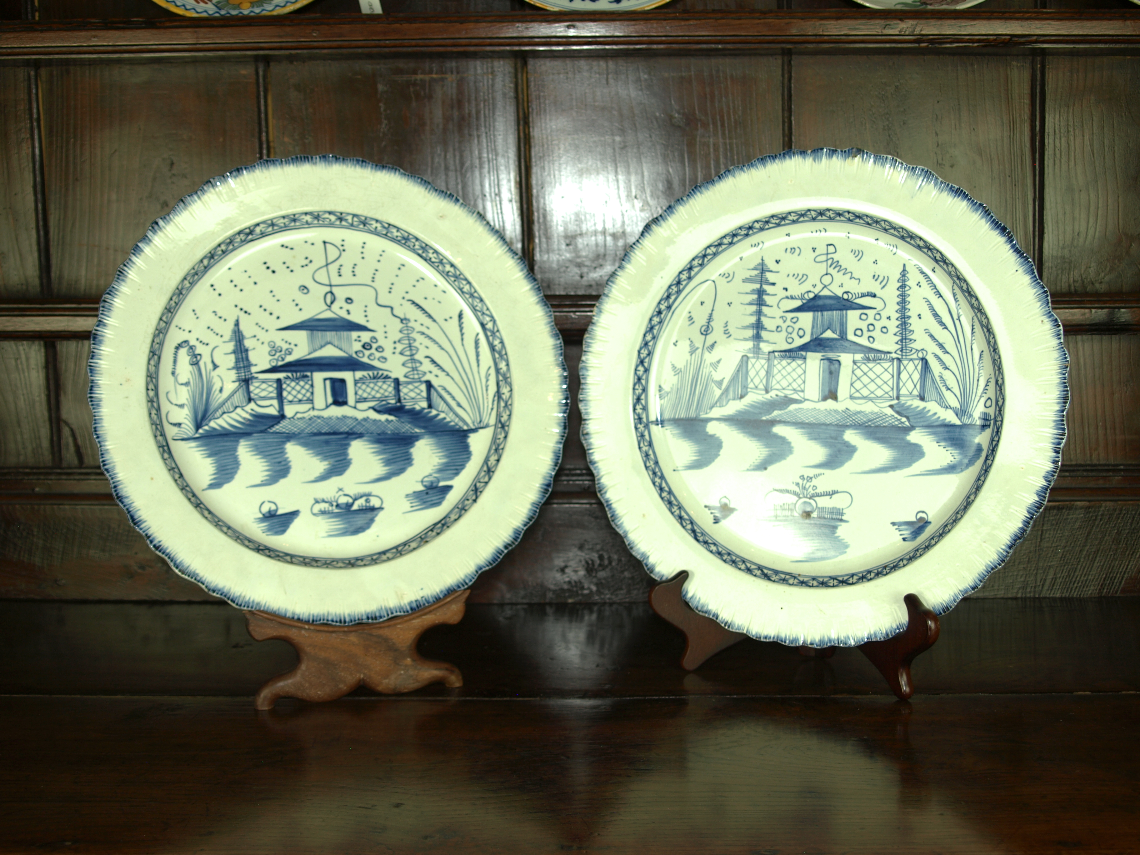 PAIR OF PEARLWARE CHARGERS