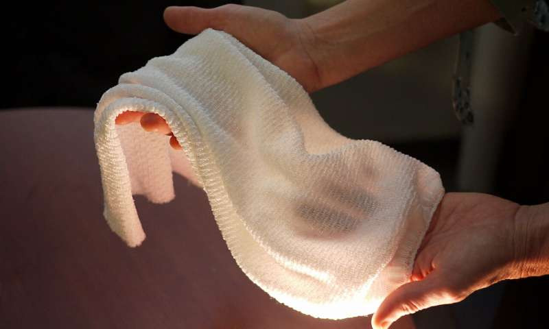 The new fabric being developed by University of Maryland scientists. Credit: Faye Levine, University of Maryland.