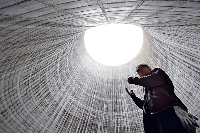 Inside the Unit 2 cooling tower at the DoE's Watts Bar Nuclear Plant. Photo by Mark Zaleski/AP
