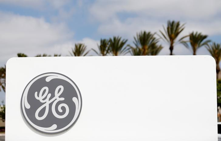 The logo of General Electric is shown at their subsidiary company GE Aviation in Santa Ana, California April 13, 2016. REUTERS/Mike Blake - RTX2E4CJ