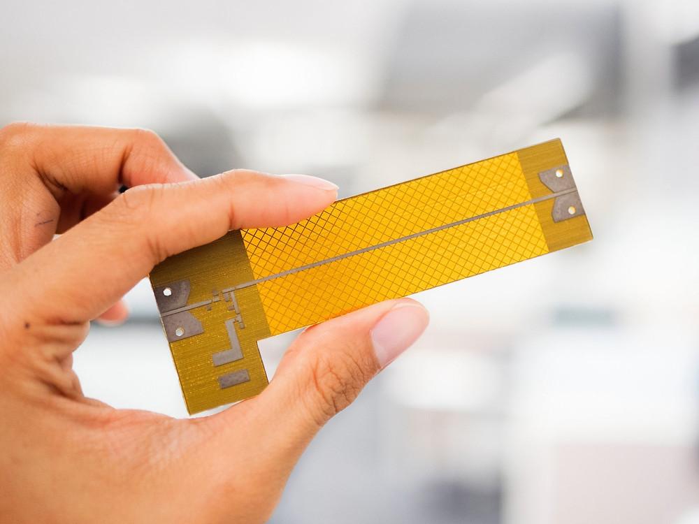 The 3D printed radio frequency (RF) circuit board. Photo via Nano Dimension.