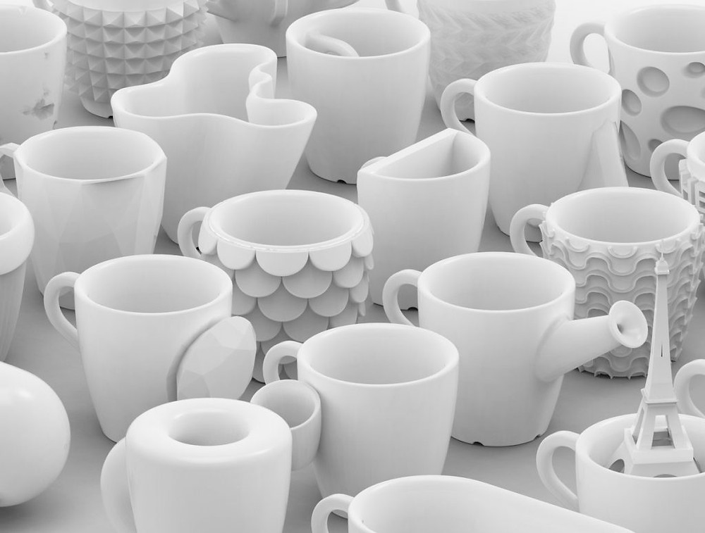 Custom designs of 3D printable model cups, from One Coffee Cup a Day | 30 days, 30 cups challenge by Bernat Cuni of Cunicode Design Studio