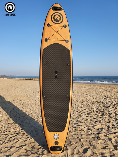 """10'6"""" Surf Shack Wood Inflatable Stand Up Paddle Board Set"""