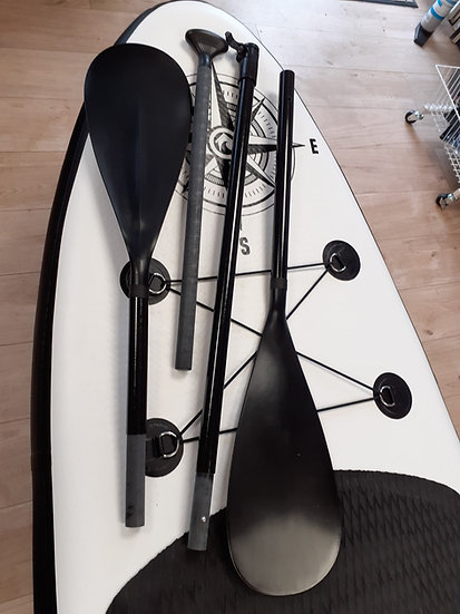 Double blade paddle conversion from SUP paddle