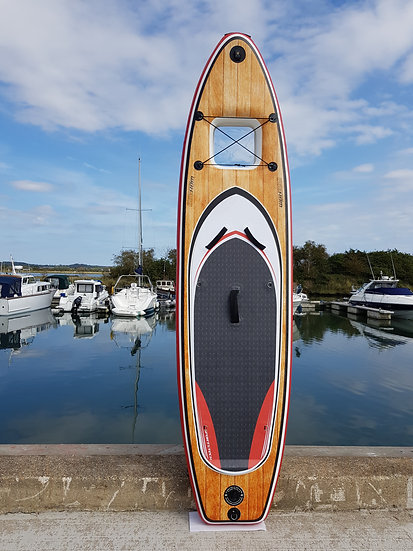 """9' 10"""" Wood Design Windowed Inflatable Stand Up Paddle Board Set"""