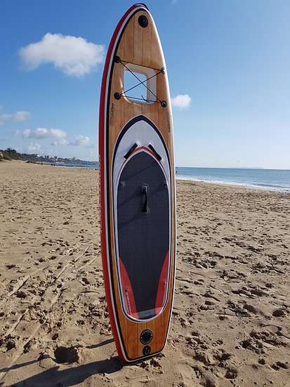 "9' 10"" Wood Design Windowed Inflatable Stand Up Paddle Board Set"