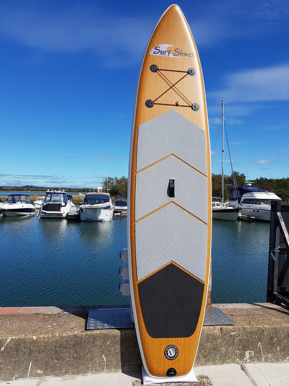 11' Surf Shack Wood Inflatable Stand Up Paddle Board Set
