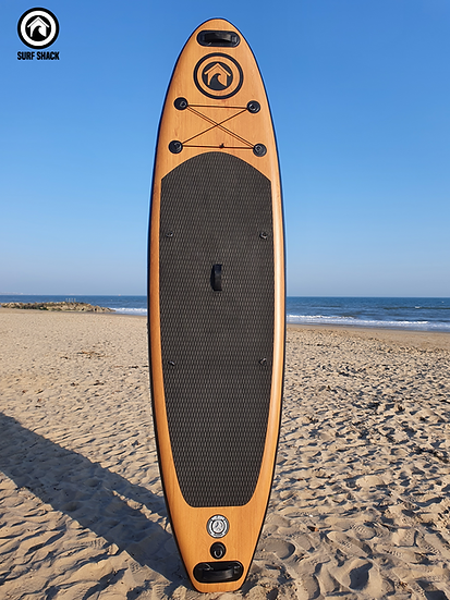 """10' 6"""" Surf Shack Wood Inflatable Stand Up Paddle Board Set"""