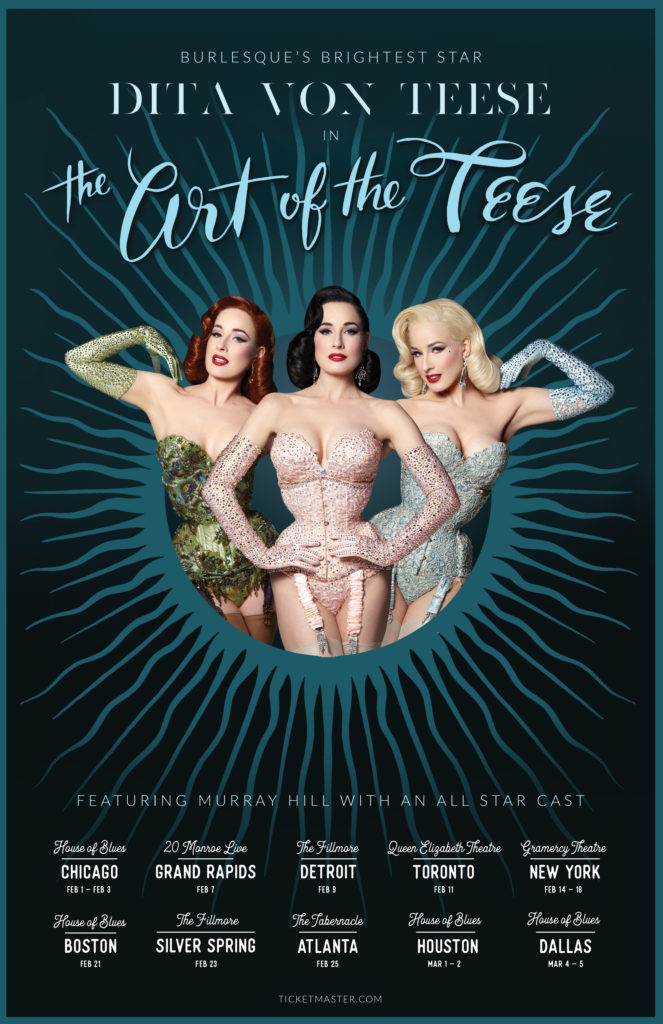 Dita Von Teese - The Art of the Teese - Tour Poster - Pearl Davies 2017