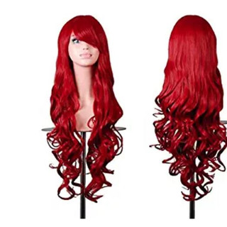 Pearl Davies Client Wardrobe: Long red wavy wig