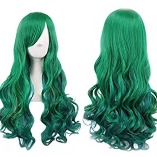 Pearl Davies Client Wardrobe: Green long wavy wig