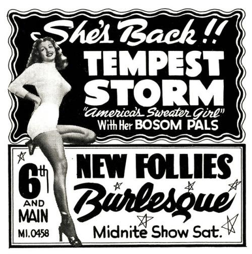 Tempest Storm Advertisement