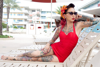 Cherry Devine Pinup at Cabana Bay Beach Resort © Pearl Davies Vintage Pinup and Boudoir Photography Newcastle NSW Australia