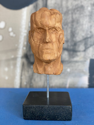 Miniature plaster bust with a quick-dip coffee finish #1