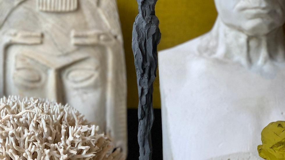 "17"" charcoal plaster figure"