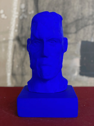 Miniature clay-cast plaster head in blue #1