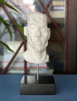 Miniature clay-cast plaster head #10