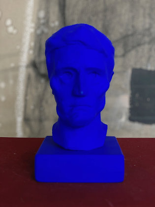 Miniature clay-cast plaster head in blue #2