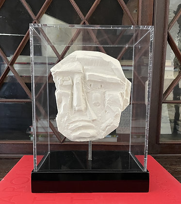 Plaster relief in acrylic case
