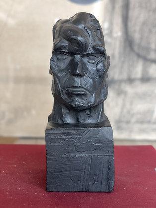 Miniature plaster bust with ebony finish