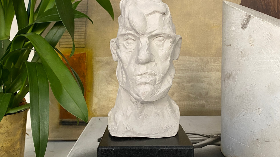 Miniature clay-cast plaster head #20