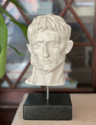 Miniature plaster bust with bleached shellac finish