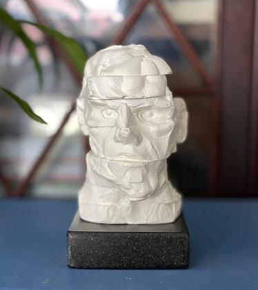 Miniature clay-cast plaster head #4 (Chopped)