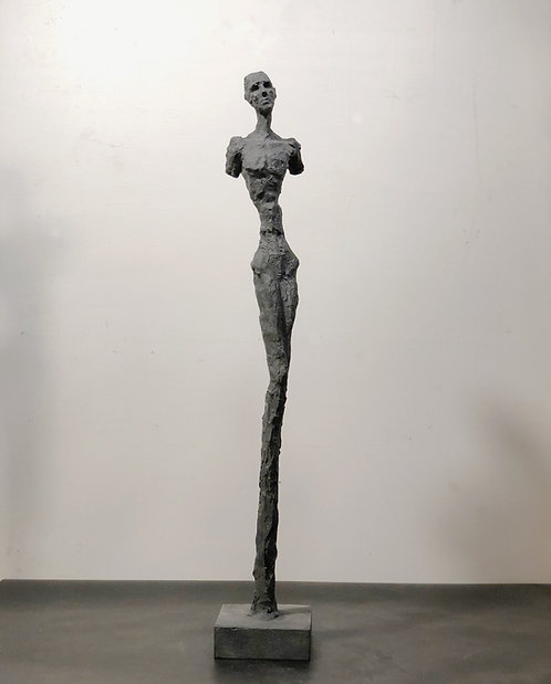 "27"" charcoal plaster figure"