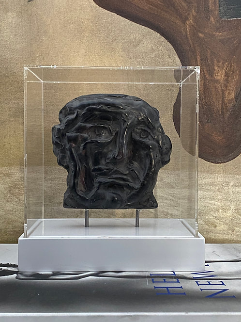 Polished ebony plaster relief in acrylic case #10