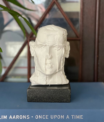 Miniature clay-cast plaster head #1 (Chopped)