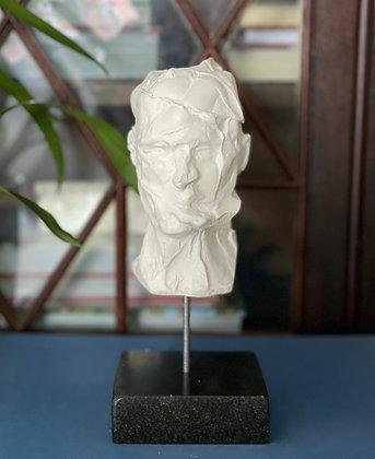 Miniature clay-cast plaster head #3 (Chopped)