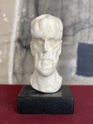 Miniature plaster bust with bleached shellac finish #2