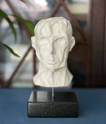 Miniature clay-cast plaster head #14
