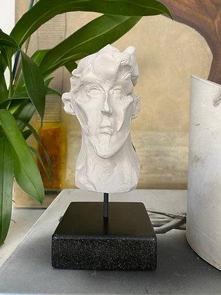 Miniature clay-cast plaster head #16
