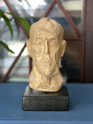 Miniature plaster bust with a quick-dip coffee finish #2